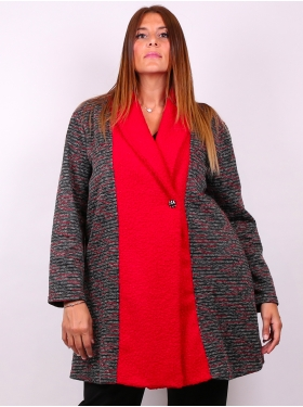 Manteau imp. multi rouge