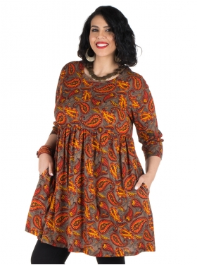 Robe à motifs orange, marron