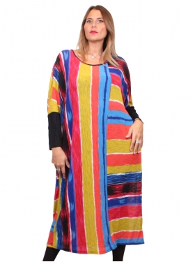 Robe à rayures multicolore