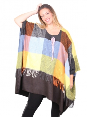 Poncho patchwork bariolé