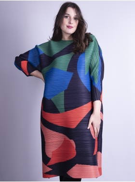 Robe plissée multicolore