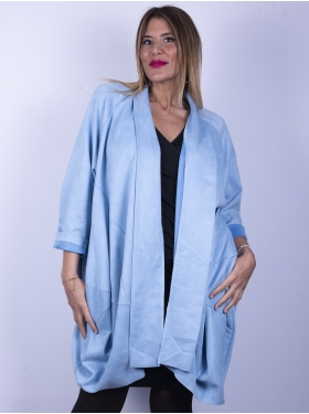 Veste bleue forme bulle, immitation daim