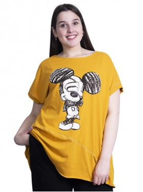 T-shirt mickey moutarde